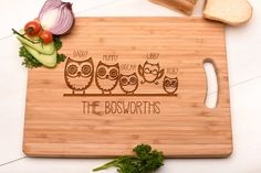 Personalised Family Chopping Board Cutting Board by OriginalMonkey | Useful Mother's Day, Birthday or gift idea for Grandma | Owls custom wood kitchen board #afflink
