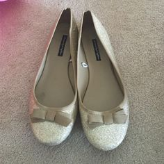 Gold sparkly flats. Size 9.5 from American eagle Worn once. They're too big on me American Eagle Outfitters Shoes Flats & Loafers