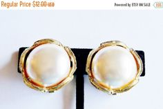 Vintage Earrings Faux Pearl Gold Tone Wedding Jewelry Jewellry Gift for Her Birthday Christmas