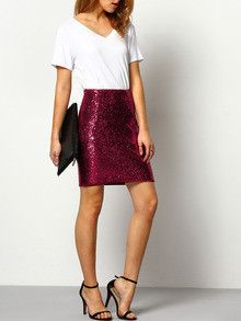 red skirt, sequin skirt, party skirt, sexy skirt - Lyfie