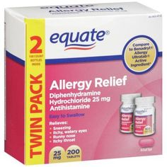 1/5 - 1/7 of a 25MG Pill per day at nighttime for Sophie, a 6 lb. dog--- Also give her an antacid dose to keep her from vomiting it up.-------Equate Diphenhydramine Hydrochloride Antihistamine Allergy Relief 25mg, 200ct. Use only during allergy seasons when she sneezes in the yard, or when her eyes get weepy.