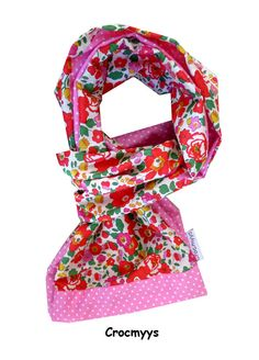 Foulard liberty betsy grenadine et rose à pois   Echarpe, foulard, cravate  par crocmyys 403b7747a7a
