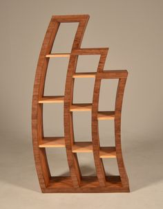Wood Bookcase Curved Wooden Custom  The WaveStack  a by MapleBear, $795.00