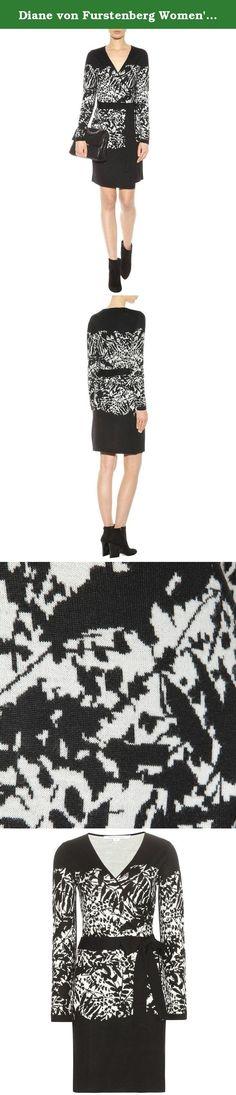 Diane von Furstenberg Women's Leandra Dress, Forest ShadowBlack/Ivory, Large. A classic Diane von Furstenberg wrap dress styled in a graphic, floral pattern. Crossover V neckline and self-belt. Long sleeves. Unlined.
