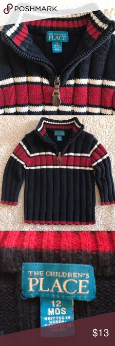 {The Children's Place} Baby Half-Zip Sweater The Children's Place brand 12months size half zip cable knit sweater in red/white/blue. Adorably classic! Excellent condition w/ no flaws. All of my items come from my smoke-free home. Bundle and save!!! The Children's Place Shirts & Tops Sweaters