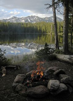 Lakeside camp, alpine lake. Clear water and mountain vista. Perfect. Wilderness Campsites. !