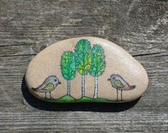 Hand painted stone. Home decor. Painted rock art. Unique gift. Decorative stones