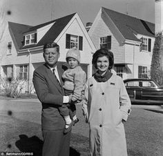 Camelot coined: It was Jackie Kennedy who attached the name Camelot to her husband's time in office after he was assassinated. She wanted it remembered as a period of hope for America. The couple are pictured with their daughter Caroline