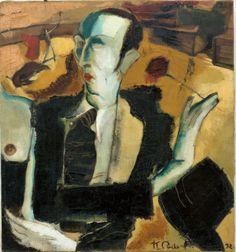 Karlis Padegs Self Portrait With Rose by Karlis Padegs