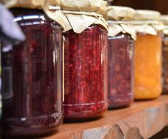 All are a mixture of fruit and sugar. The difference between jelly and jam is the amount of solid fruit in the mixture. Marmalade is made with citrus rinds. Jelly, jam and marmalade are all fruit preserves. Fruit Jam, Fresh Fruit, Fruit Preserves, Mixed Fruit, Strawberry Zucchini Jam, Strawberry Jam, Jalapeno Jam, Non Perishable Foods, Jam And Jelly