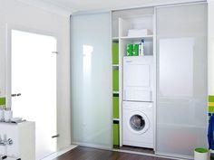 trockner waschmaschine badezimmer schrank integriert grau hochglanz wohnen in 2018 pinterest. Black Bedroom Furniture Sets. Home Design Ideas