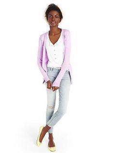 Gap:  Luxlight V-neck cardigan, Fluid roll-cuff henley T, 1969 destructed always skinny skimmer jeans