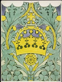 Wallpaper design by CFA Voysey,  England, 1899-1913. Depicts a crown, rose, thistle, shamrock and acanthus, in green, yellow and blue. Pencil and watercolour on paper, H: 58.5 x W: 53.3 cm