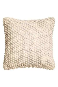 Moss-knit cushion cover with woven cotton fabric at back. Knitted Cushion Covers, Knitted Cushions, Moss Stitch, H&m Home, Beach Cottage Decor, White Houses, Photoshop, Living Room Interior, Soft Furnishings