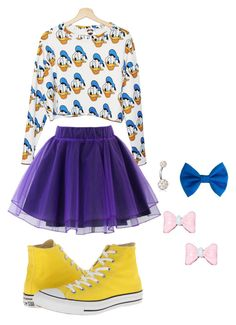 """""""Donald Duck!!"""" by kenzzzzzzieeee ❤ liked on Polyvore featuring Disney, Chicwish, Converse and Bling Jewelry"""