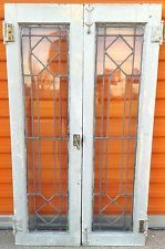 RARE PAIR TRANSOM WINDOWS LARGE ANTIQUE VINTAGE ART DECO LEADED ENGLISH GLASS