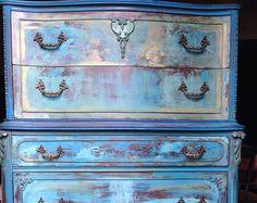 SOLD Vintage Dresser - Aquamarine Dressser - Painted Dresser - Hand Painted Turquoise Dresser - Shabby Chic Dresser - French Country Dresser