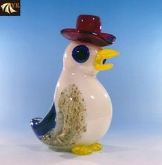 Murano Glass Funny Animal Birds With Hat