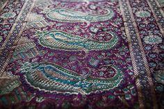 turquoise and purple silk brocade sari in paisley motif