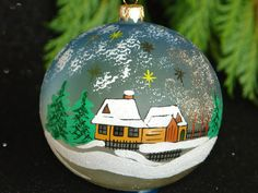 Christmas ornament LARGE hand painted hand made ornament stain