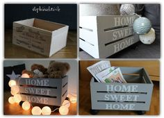 Home sweet home Wood Crates, Wooden Boxes, Decoupage, Plastic Crates, Ikea, Print Box, Wood Creations, Wooden Art, Decoration