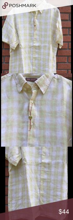 "Men's PER ME UOMO LINEN LARGE SHIRT NWT 100% linen..size large ..light green and yellow with off white background..measures 24""armpit to armpit..33"" length Per me uomo Shirts Casual Button Down Shirts"