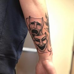 Some laughing / crying masks for my dude to fill out his lower arm . Forarm Tattoos, Life Tattoos, Body Art Tattoos, Hand Tattoos, Sleeve Tattoos, Family Tattoos For Men, Arm Tattoos For Guys, Theater Mask Tattoo, Theater Masks