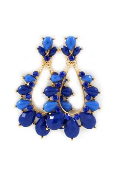 Beautiful gold statement earrings with stones/gems in tones of blue - also great selection of earrings on that website and not that expensive!