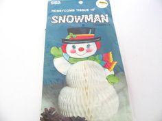Vintage Christmas 1980's Honeycomb Snowman Decoration, Snowman Centerpiece, Christmas Decor