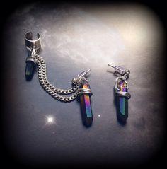 Rainbow Titanium Quartz Crystal Earrings and Ear Cuff