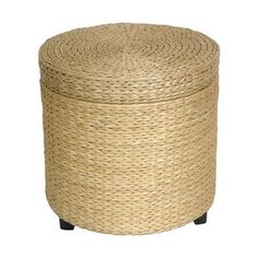 Shop Oriental Furniture Fiber Weave Natural Round Storage Ottoman at Lowes.com