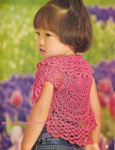CROCHE COM RECEITA: Bolero em crochê rosa para a princesa