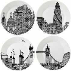 London Calling Side Plates 22cm (Set of 4) – Charlene Mullen