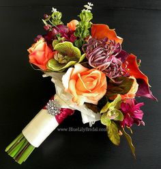 Fall Elegance Bridal Bouquet Real Touch Flower by BlueLilyBridal, $245.00