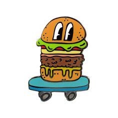 Burger Skater Pin