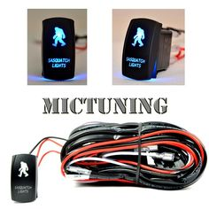MICTUNING LED Light Bar Wiring Harness ON/OFF Laser SASQUATCH Rocker Switch Blue (2Lead 12ft)