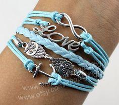 Antique Silver anchor bracelet  owl Bracelet Love by giftdiy, $6.19