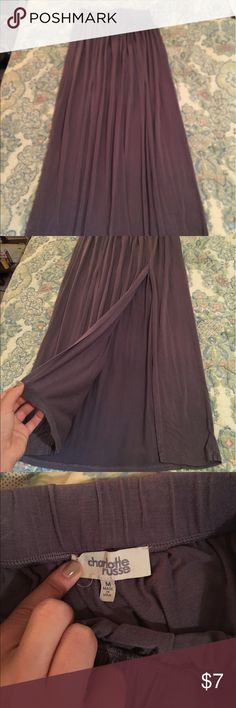 Purple Charlotte Ruse Maxi Skirt with Slit Purple Charlotte Ruse Maxi Skirt with Slit. Size M. Elastic waistband. Super cute!! Charlotte Russe Skirts Maxi