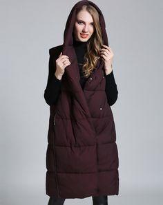 Wine Snap Button Hoodie Long Vest Down Coat