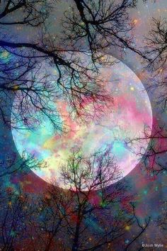 Cellphone Background / Wallpaper Moon Art by Josh Wylie Beautiful Nature Wallpaper, Beautiful Landscapes, Beautiful Scenery Drawing, Fantasy Art Landscapes, Pretty Wallpapers, Galaxy Wallpaper, Rainbow Wallpaper, Wallpaper Space, Tree Wallpaper