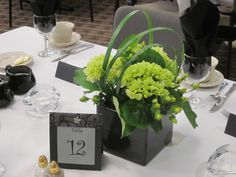 black cube with lime hydrangea, green berry and looped lily grass