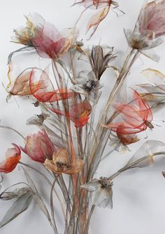 Tokyo Ghoul Lovely dreadful flowers is part of Floral art - Organza Flowers, Faux Flowers, Fabric Flowers, Paper Flowers, Wedding Venue Inspiration, Wallpaper, Textile Art, Sculptures, Drawings
