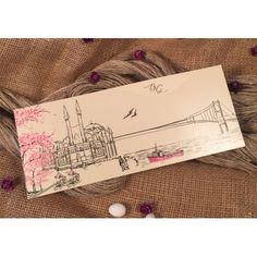 Invitatii de Nunta Ieftine cu Indragostiti Peisaj si Cires Inflorit 30357 Cover, Ankara, Istanbul