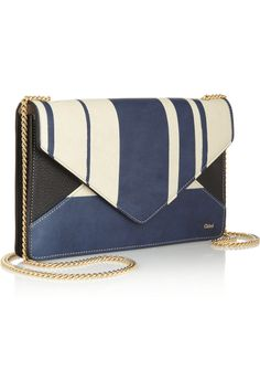 Chloé's small striped leather shoulder bag is multi-functional - it doubles as a wallet with a slot for bills and plenty of card holders. Detach the gold chain strap to carry it as a clutch.
