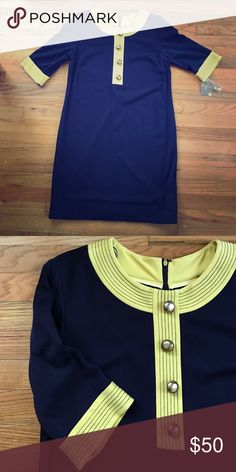 Taylor 60s Inspired Dress - Brand New Navy with yellow trim accents and giant gold buttons. Never been worn. Three-quarter length sleeve. 71% Rayon, 24% Nylon & 6% Spandex Taylor Dresses Midi