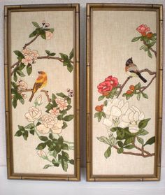 Vintage Set of Crewel Wall Art    Asian   Birds    by chloeswirl, $62.00