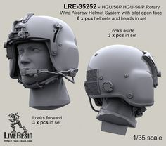 1/35 Helicopter Crew Live-Resin crewman heads wearing HGU-56 helmets