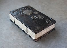 Steampunk Leather Journal -badgerandchirp.etsy.com