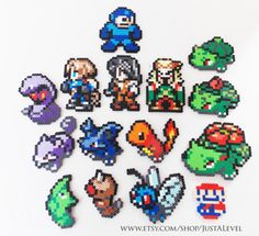 etsy.com/shop/justalevel  Bead sprites work in progress. Did a few pokemon, some final fantasy and of course the most iconic Super Mario and Megaman.