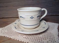 Longaberger pottery coffee cup woven by TheBeautifulBarn on Etsy, $8.00